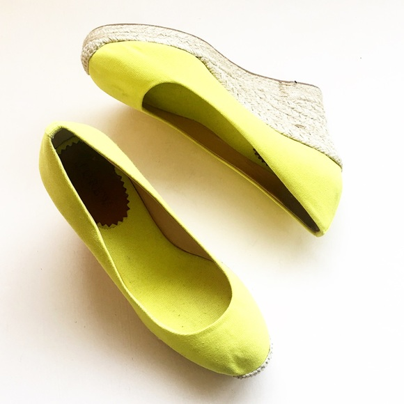 b995d33f627a J. Crew Shoes - J. Crew yellow neon wedge espadrilles